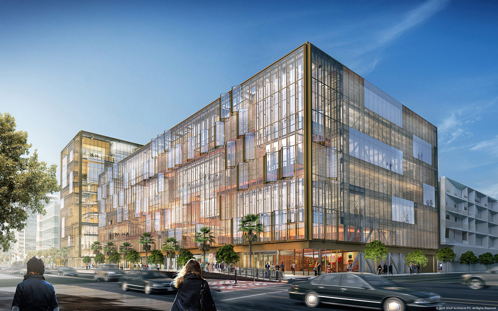 An exterior rendering of the future Uber Headquarters in San Francisco's Mission Bay (Photo courtesy SHoP Architects/Uber)