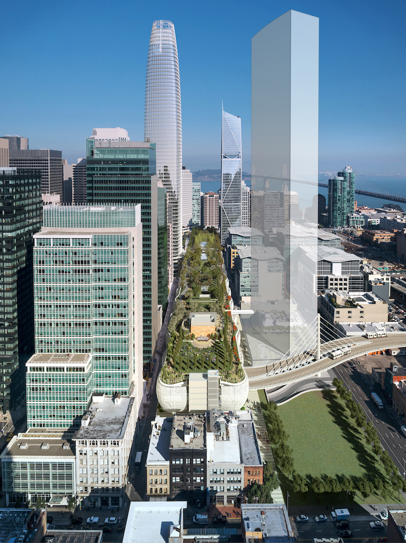 Transbay Terminal Rendering with transparent rendering indicating the Howard Street siteRegistry